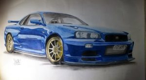 How to the Draw: JDM Nissan Skyline R34 GTR Drawing