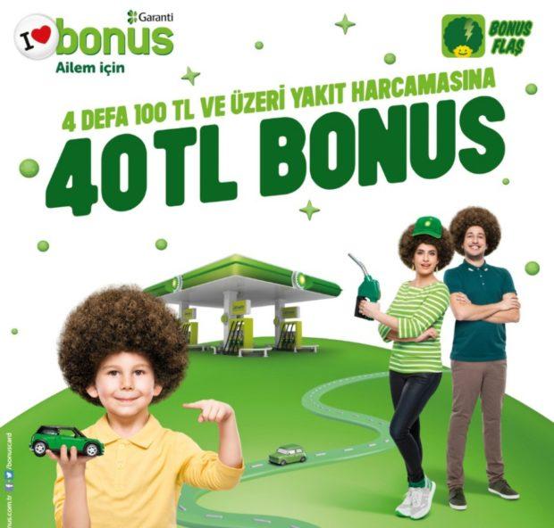 1 Ekim-15 Kasım arasında BP'den 4 kez 100 TL ve üzeri akaryakıt ya da otogaz alan Bonus Kartlılar 30 TL, Bonus Flaş'ı kullananlar ise 40 TL bonus kazanacak.