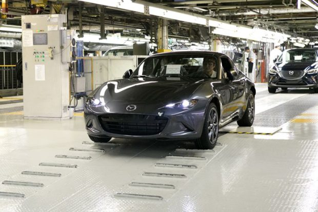 Mazda Motor Corporation started production the Mazda MX-5 RF retractable hardtop at Ujina Plant No.1 near its global headquarters in Hiroshima.