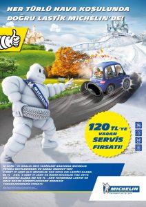 Michelin, 15 Aralık'a kadar 4 adet yaz, kış, 4x4 binek veya hafif ticari araç lastiği alan müşterilerine lastik servis ve araç bakım hizmeti sağlıyor.