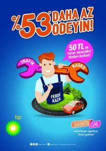 Sigorta Cini, BP işbirliği çerçevesinde Trafik, Kasko ve Ferdi Kaza Sigortası yaptıran müşterilerine 50 TL'ye varan akaryakıt hediye ediyor.