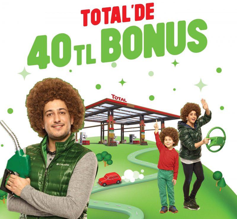 Total'den Bonus ile Toplam 400 TL Akaryakıt Alana 40 TL Bonus