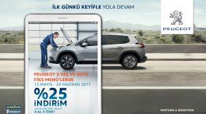 Peugeot Bakım Kampanyası Kapsamında Peugeot Fiks Menü Paketleri'nde Yüzde 25'e Varan İndirim