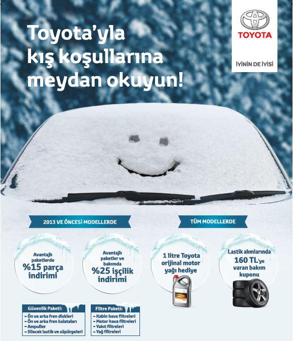 Toyota Kasım 2017 Kış Servis Günleri Kampanyası kapsamında güvenlik ve filtre paketlerinde yüzde 15 yedek parça, yüzde 25 işçilik indirimi uygulanacak.