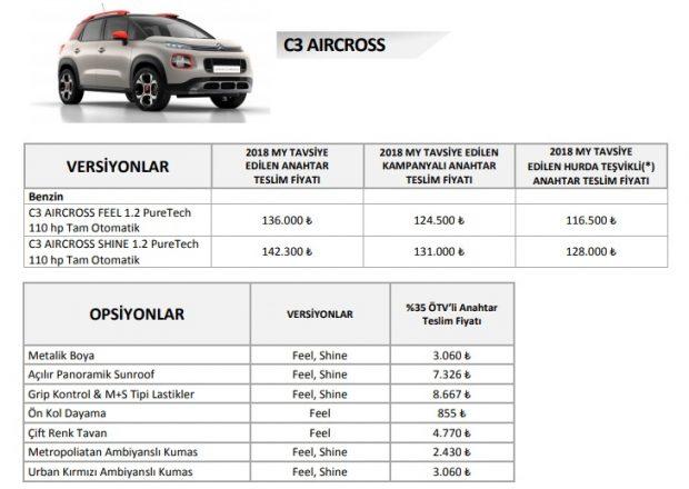 c3 aircross aralik 2018 fiyat