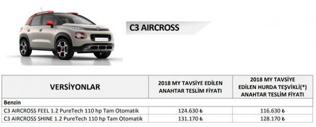 c3 aircross ocak 2019 fiyat