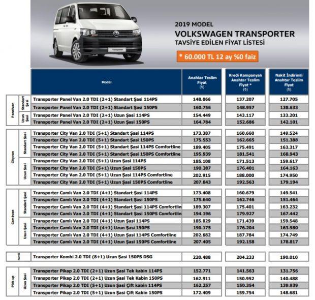 transporter fiyat agustos 2019